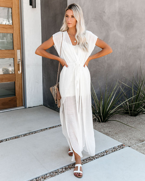 Wet Suit Cover-Up Maxi Dress - White - FINAL SALE