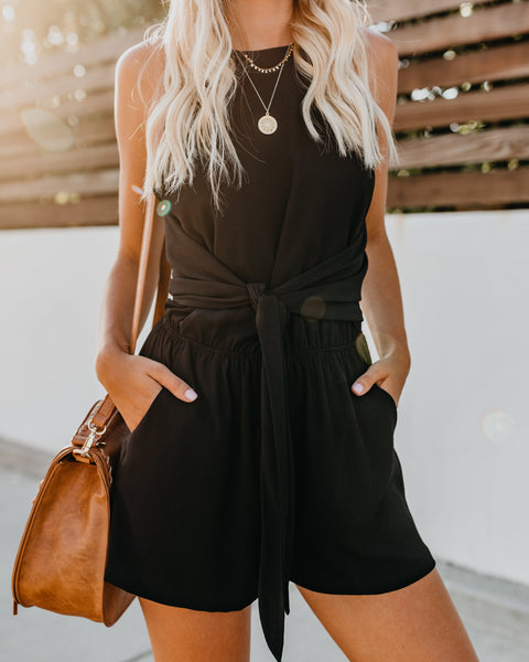 What A Gem Pocketed Knot Romper - Black