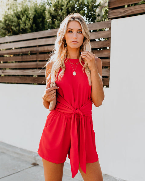 904f1bec664f What A Gem Pocketed Knot Romper - Tomato Red