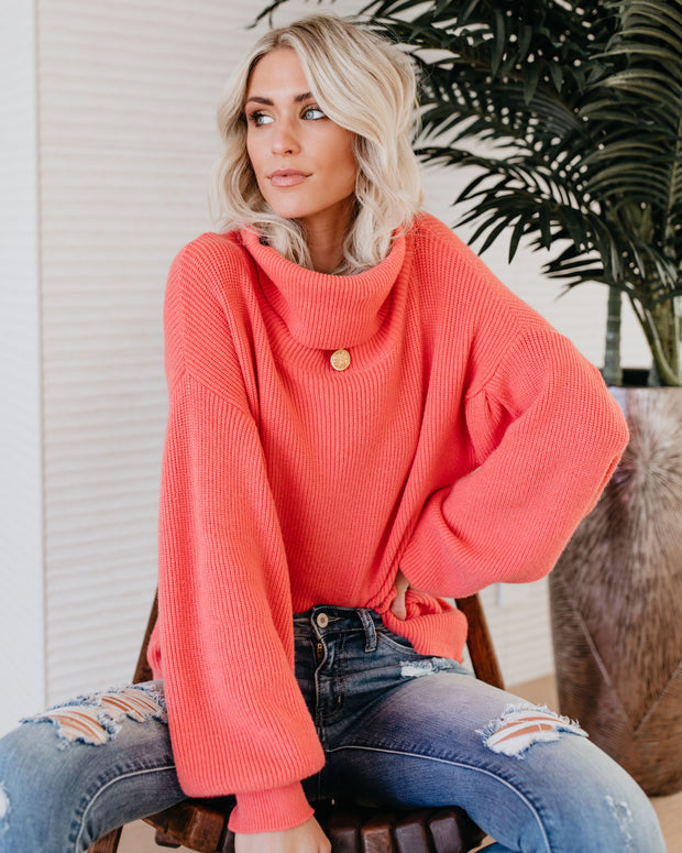 What A Treat Turtleneck Sweater - Salmon