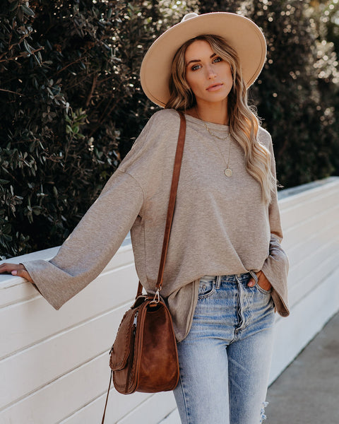 Whatever It Takes Cotton Blend Knit Top - Taupe   - FINAL SALE