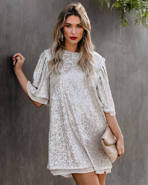 Whatever You Like Sequin Shift Dress