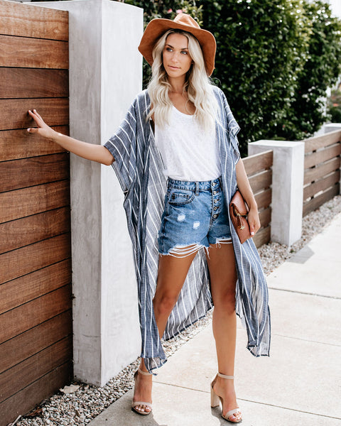 What's Up, Beaches? Striped Kimono - Denim/White