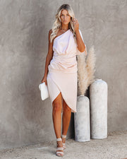What To Wear One Shoulder Satin Drape Dress - Blush - FINAL SALE