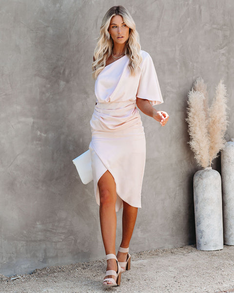What To Wear One Shoulder Satin Drape Dress - Blush