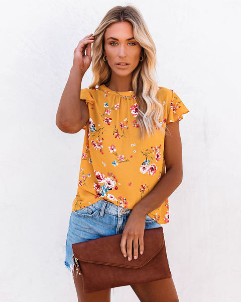 Wheatley Floral Flutter Blouse