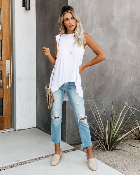 When In Doubt Relaxed Tank - White