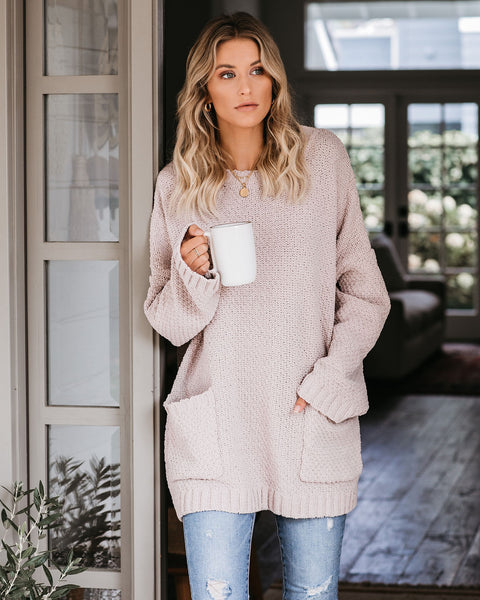 Where Love Resides Pocketed Chenille Sweater - Latte