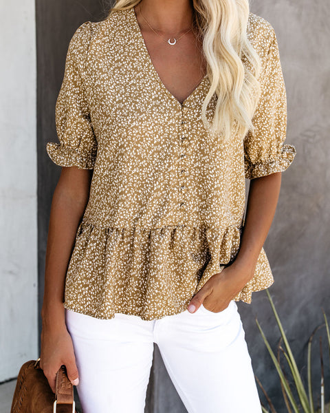 Where The Wind Blows Button Down Peplum Top