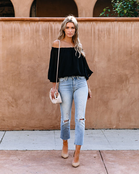 Whimsical World Chiffon Off The Shoulder Top - Black