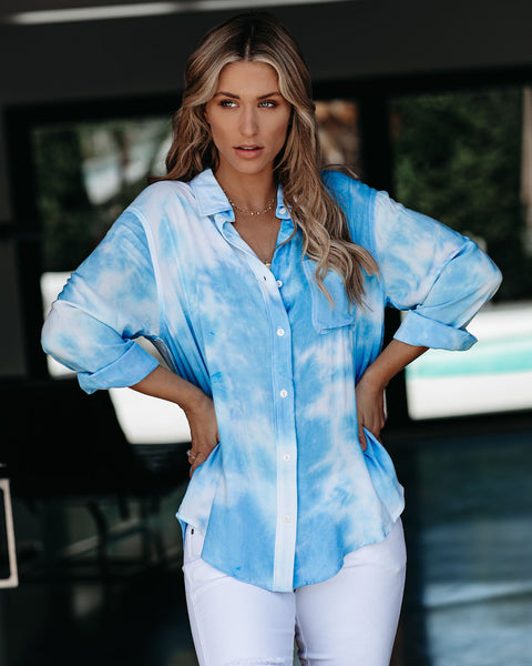 Whirlwind Tie Dye Button Down Top - Blue