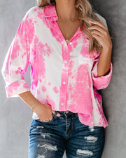 Whirlwind Tie Dye Button Down Top - Pink  - FINAL SALE