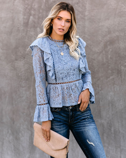 Whispers Of Autumn Wind Ruffle Lace Peplum Top