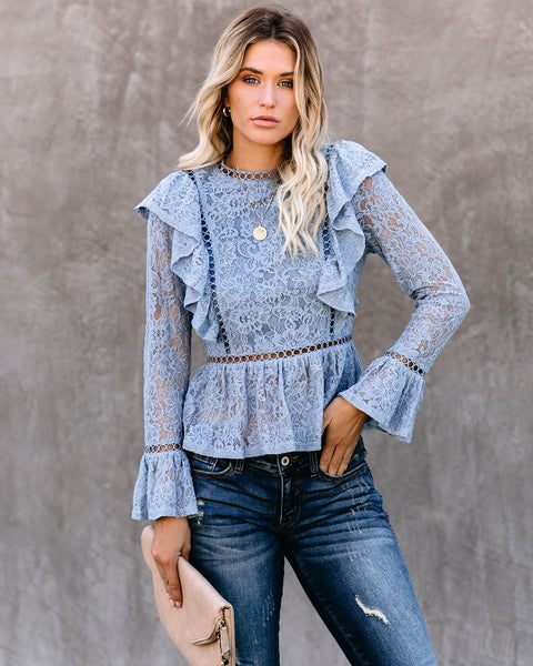 Whispers Of Autumn Wind Ruffle Lace Peplum Top - FINAL SALE