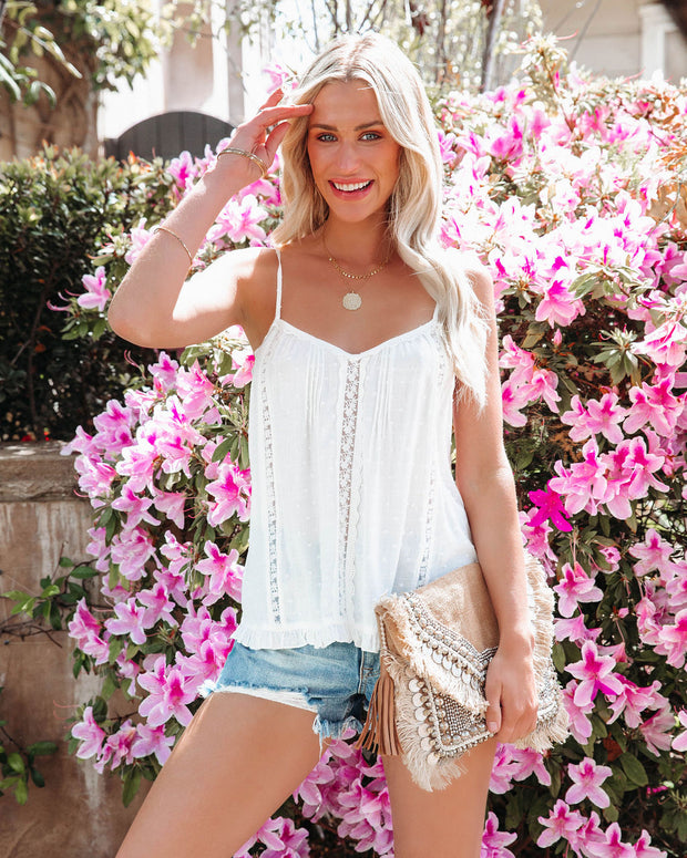 Whistling Wind Swiss Dot Lace Trim Cami Tank view 2