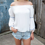 Pyramids Off The Shoulder Tassel Top