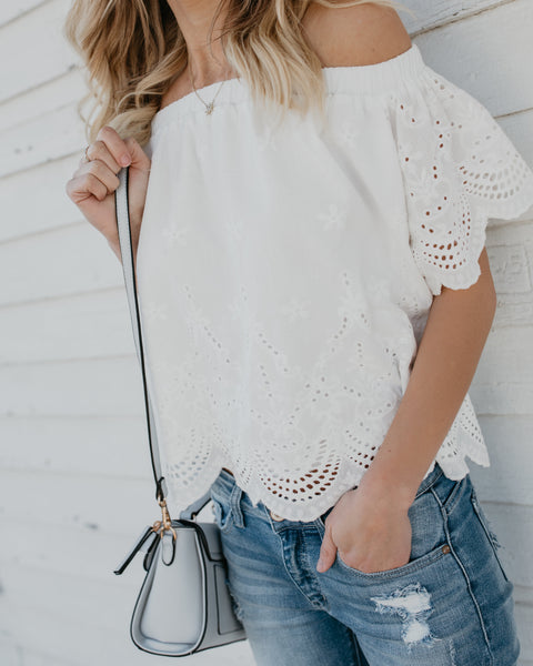 You're My Favorite Off The Shoulder Eyelet Top - White