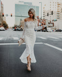 Elegance Lace Trumpet Dress - White