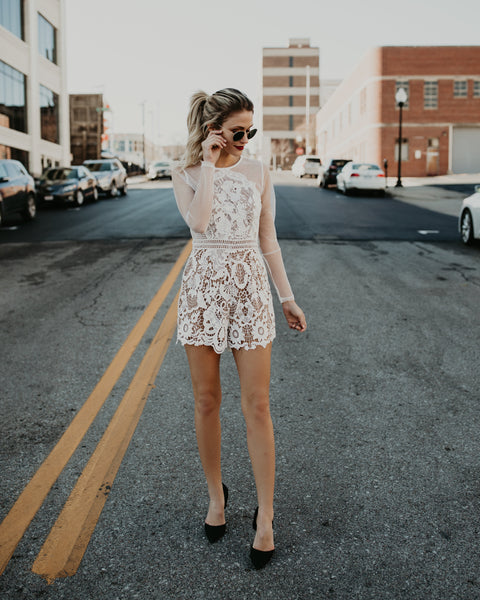 My Forever Lace Romper - White - FLASH SALE