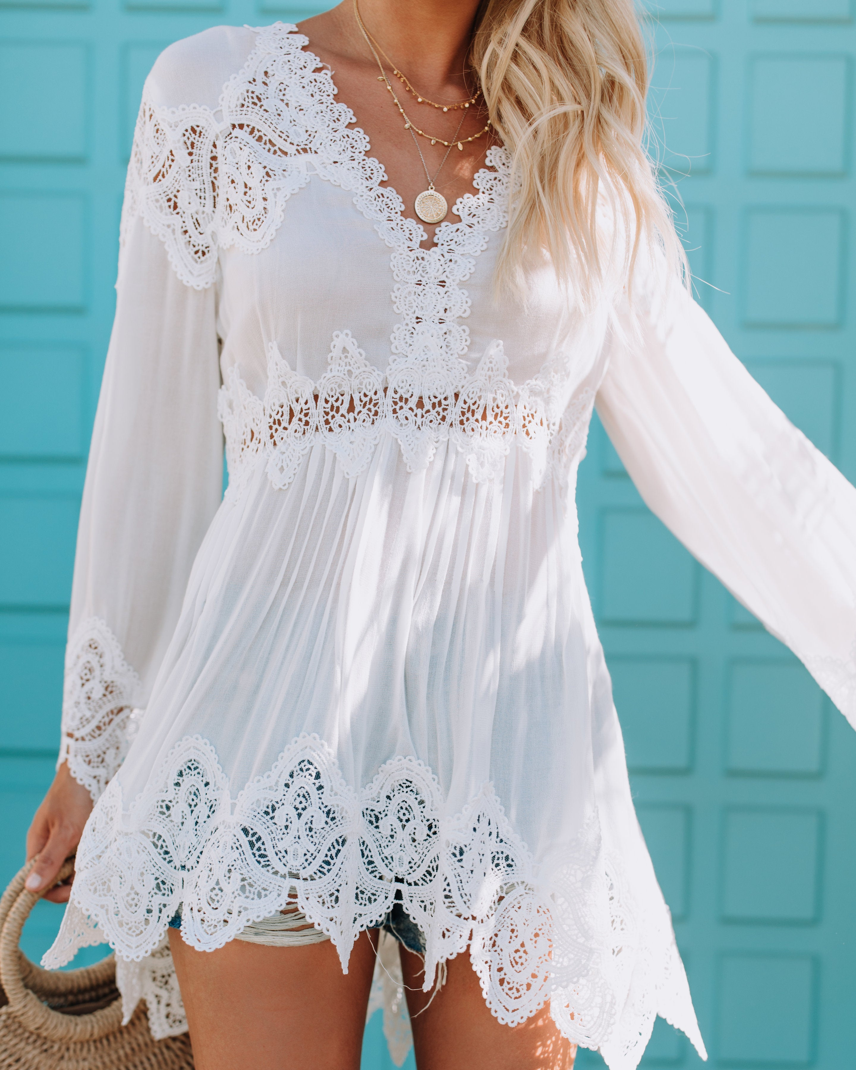 4c6bf463180 Ethereal Lace Bell Sleeve Tunic – VICI