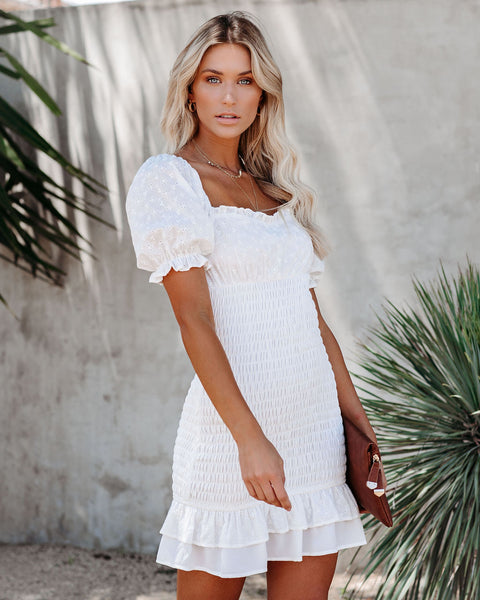 White Picket Fence Smocked Eyelet Ruffle Dress