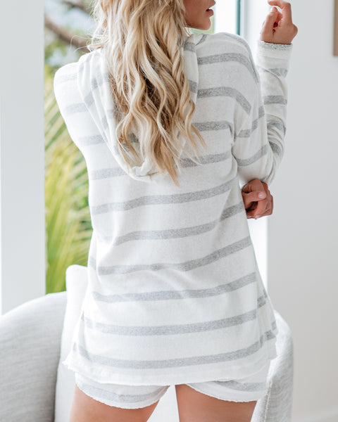 White Sands French Terry Pocketed Striped Hoodie