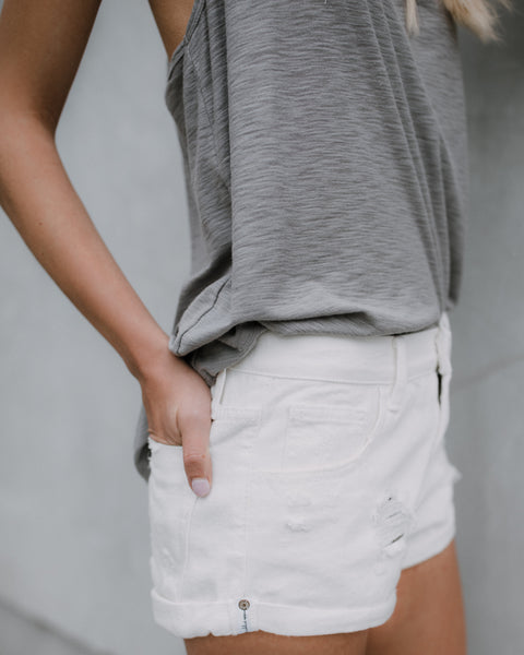Torrance Denim Shorts - White - FLASH SALE