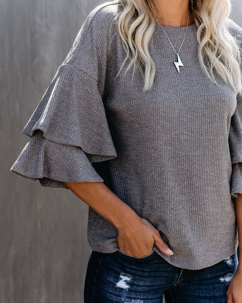 Whitney Ruffle Sleeve Ribbed Top - FINAL SALE