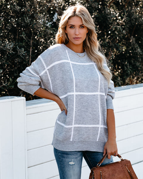 Windowpane Knit Sweater - FINAL SALE