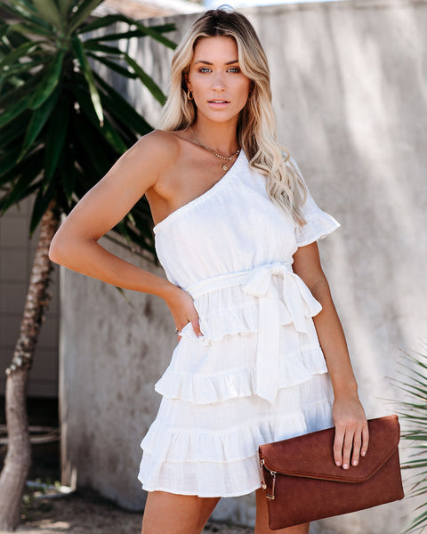 Windows Down Cotton One Shoulder Ruffle Dress