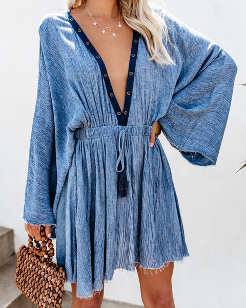 Wind + Sea Gauze Grommet Kimono Dress
