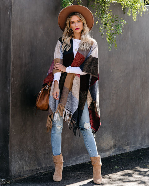 Wine Country Checkered Fringe Poncho