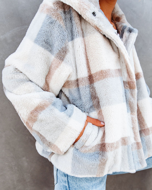PREORDER - Winter's Tale Pocketed Plaid Faux Fur Jacket