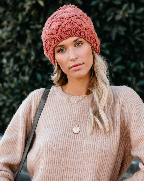 Winter Wonderland Knit Pom Beanie - Rust