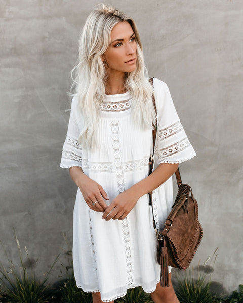 Wise Beyond Cotton Crochet Dress - Off White