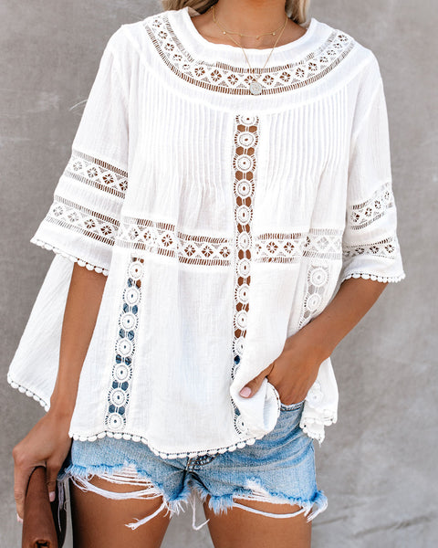 Wise Beyond Her Years Crochet Cotton Top