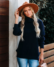 Wish Upon A Snowflake Knit Turtleneck Sweater - Navy