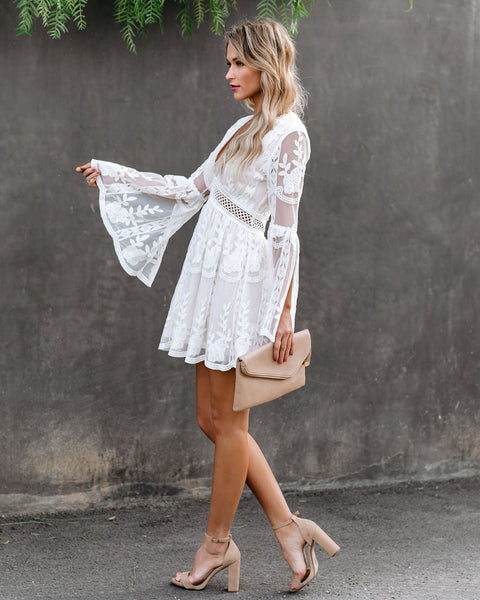 Without A Doubt Lace Bell Sleeve Dress