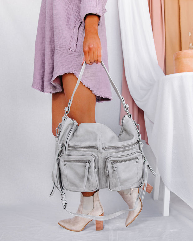 With The Band Faux Leather Crossbody Bag - Grey