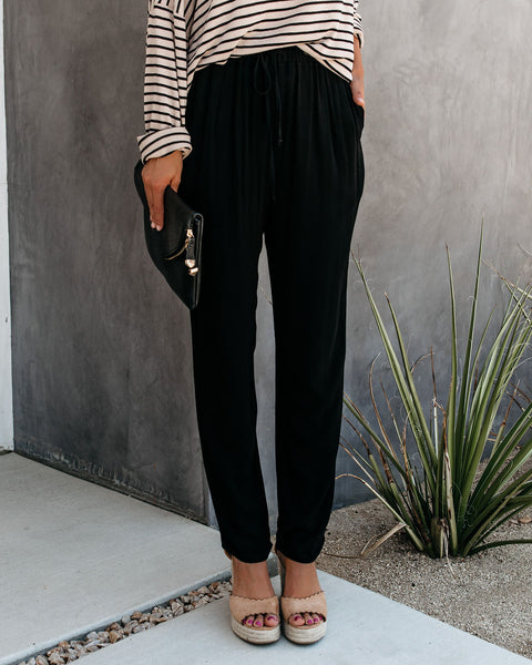 With The Current Pocketed Drawstring Pants - Black - FINAL SALE