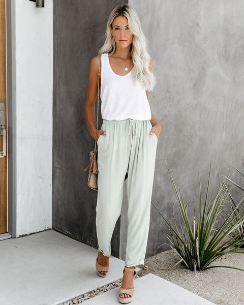 With The Current Pocketed Drawstring Pants - Mint