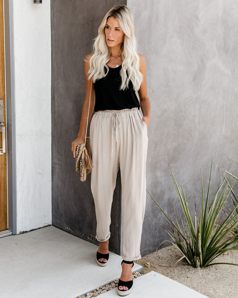 With The Current Pocketed Drawstring Pants - Taupe