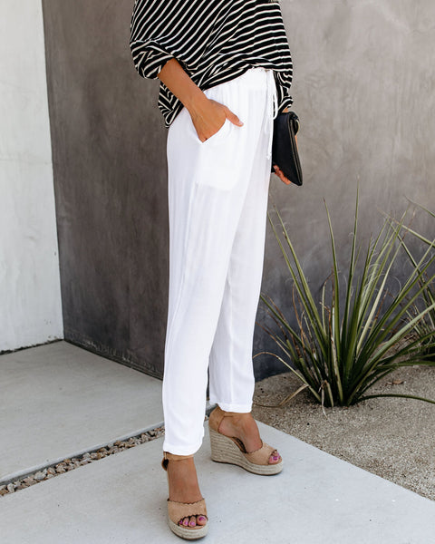 With The Current Pocketed Drawstring Pants - White - FINAL SALE