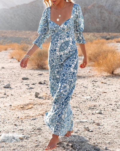 Wonderful World Printed Puff Sleeve Maxi Dress