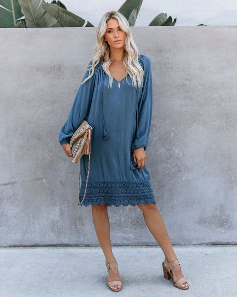 Woodstock Crochet Tassel Dress - Blue Stone