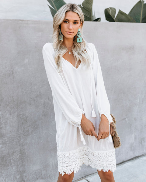 Woodstock Crochet Tassel Dress - Off White