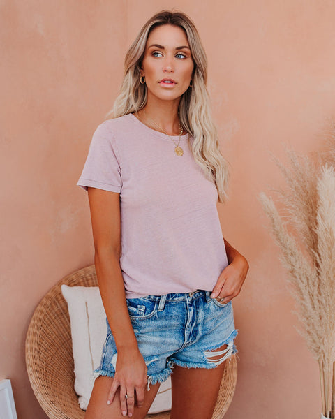 Words To Live By Linen Blend Tee - Blush