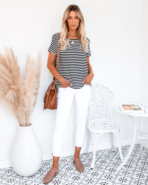 Working For The Weekend Striped Short Sleeve Top