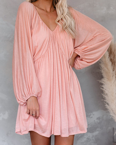 Worry Free Balloon Sleeve Knit Dress - Blush