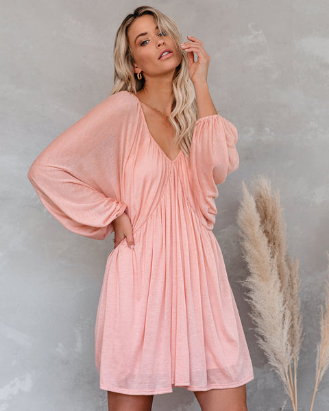Worry Free Balloon Sleeve Knit Dress - Blush - FINAL SALE